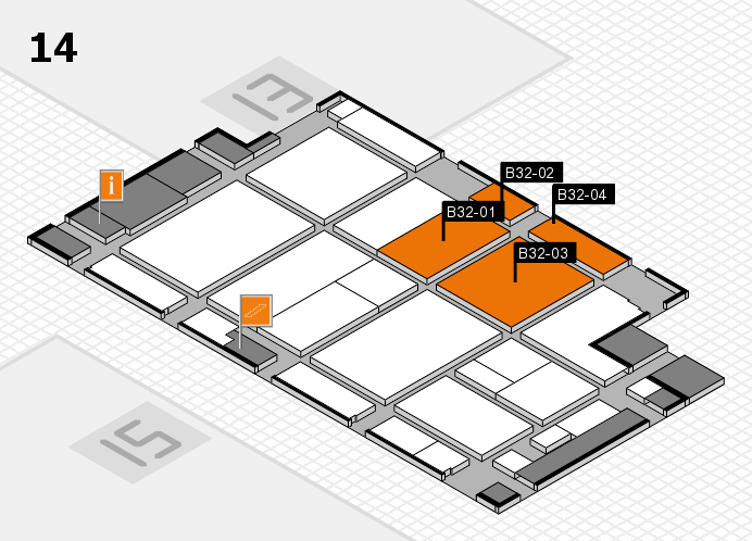 CARAVAN SALON 2016 hall map (Hall 14): stand B32-01, stand B32-04