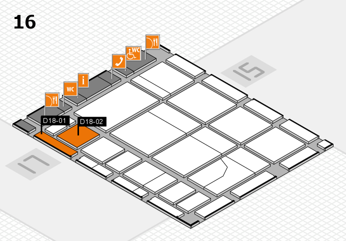 CARAVAN SALON 2016 hall map (Hall 16): stand D18-01, stand D18-02