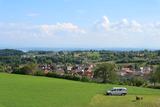 """Unser Van """"Kevin"""" auf einem Stellplatz mit Bodensee-Panorama"""