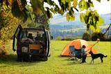 Campen mit Van, Zelt und Hund direkt am Waldrand