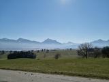 Aussicht auf die Alpen von einem Stellplatz in Füssen